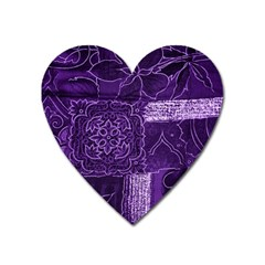 Pretty Purple Patchwork Magnet (heart) by FunWithFibro