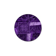 Pretty Purple Patchwork Golf Ball Marker 4 Pack by FunWithFibro