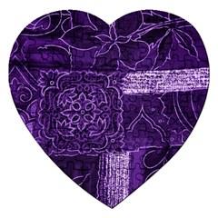 Pretty Purple Patchwork Jigsaw Puzzle (heart) by FunWithFibro