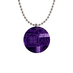 Pretty Purple Patchwork Button Necklace by FunWithFibro
