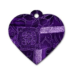 Pretty Purple Patchwork Dog Tag Heart (one Sided)  by FunWithFibro