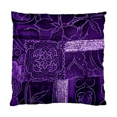 Pretty Purple Patchwork Cushion Case (two Sided)  by FunWithFibro