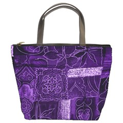 Pretty Purple Patchwork Bucket Handbag by FunWithFibro