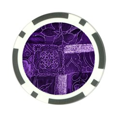 Pretty Purple Patchwork Poker Chip (10 Pack) by FunWithFibro