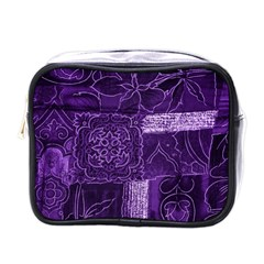Pretty Purple Patchwork Mini Travel Toiletry Bag (one Side) by FunWithFibro
