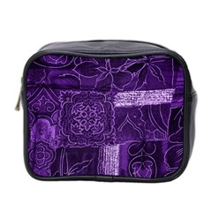 Pretty Purple Patchwork Mini Travel Toiletry Bag (two Sides) by FunWithFibro