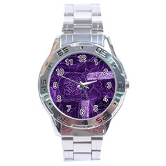 Pretty Purple Patchwork Stainless Steel Watch by FunWithFibro