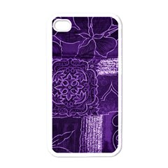 Pretty Purple Patchwork Apple Iphone 4 Case (white) by FunWithFibro