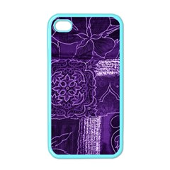 Pretty Purple Patchwork Apple Iphone 4 Case (color) by FunWithFibro