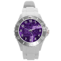 Pretty Purple Patchwork Plastic Sport Watch (large) by FunWithFibro