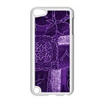Pretty Purple Patchwork Apple iPod Touch 5 Case (White) Front