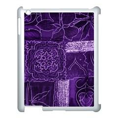 Pretty Purple Patchwork Apple Ipad 3/4 Case (white) by FunWithFibro