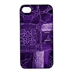 Pretty Purple Patchwork Apple Iphone 4/4s Hardshell Case With Stand by FunWithFibro