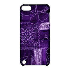 Pretty Purple Patchwork Apple Ipod Touch 5 Hardshell Case With Stand by FunWithFibro