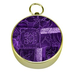 Pretty Purple Patchwork Gold Compass by FunWithFibro