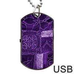 Pretty Purple Patchwork Dog Tag Usb Flash (two Sides) by FunWithFibro
