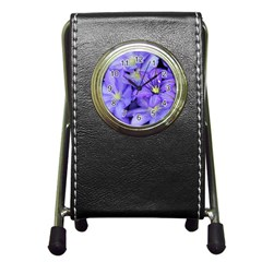 Purple Wildflowers For Fms Stationery Holder Clock by FunWithFibro