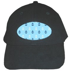 Anchors In Blue And White Black Baseball Cap