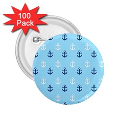 Anchors In Blue And White 2 25  Button (100 Pack) by StuffOrSomething
