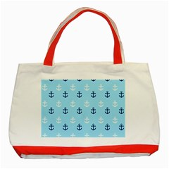Anchors In Blue And White Classic Tote Bag (Red) by StuffOrSomething