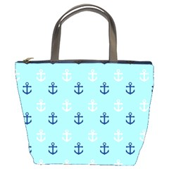 Anchors In Blue And White Bucket Handbag by StuffOrSomething
