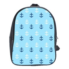 Anchors In Blue And White School Bag (large) by StuffOrSomething