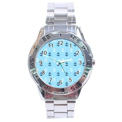 Anchors In Blue And White Stainless Steel Watch by StuffOrSomething