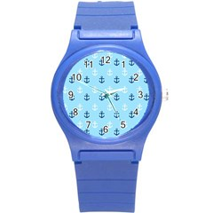 Anchors In Blue And White Plastic Sport Watch (small) by StuffOrSomething