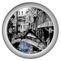 Vintage Venice Canal Wall Clock (silver) by bloomingvinedesign