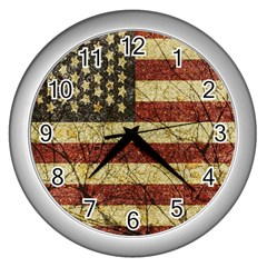 Vinatge American Roots Wall Clock (silver) by dflcprints