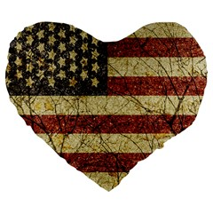 Vinatge American Roots 19  Premium Heart Shape Cushion by dflcprints