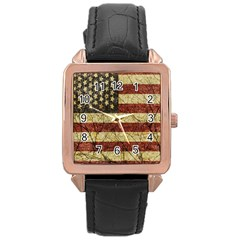 Vinatge American Roots Rose Gold Leather Watch