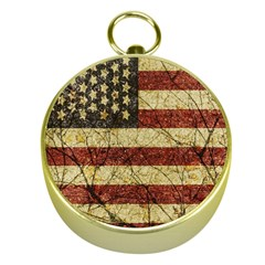 Vinatge American Roots Gold Compass by dflcprints