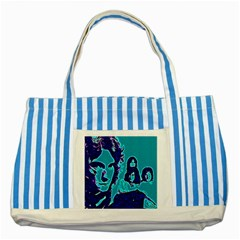 Led Zeppelin Digital Painting Blue Striped Tote Bag