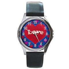Love Theme Concept  Illustration Motif  Round Leather Watch (silver Rim) by dflcprints