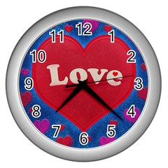 Love Theme Concept  Illustration Motif  Wall Clock (silver) by dflcprints