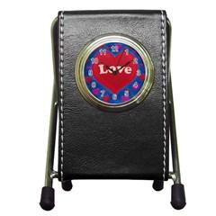 Love Theme Concept  Illustration Motif  Stationery Holder Clock by dflcprints