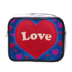 Love Theme Concept  Illustration Motif  Mini Travel Toiletry Bag (one Side) by dflcprints