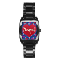 Love Theme Concept  Illustration Motif  Stainless Steel Barrel Watch by dflcprints