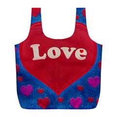 Love Theme Concept  Illustration Motif  Reusable Bag (l) by dflcprints