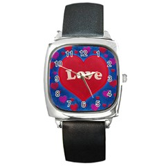 Love Theme Concept  Illustration Motif  Square Leather Watch by dflcprints
