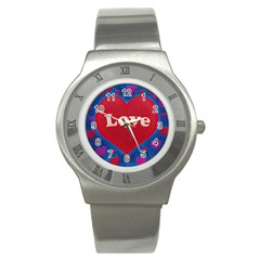 Love Theme Concept  Illustration Motif  Stainless Steel Watch (slim) by dflcprints