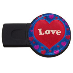 Love Theme Concept  Illustration Motif  4gb Usb Flash Drive (round) by dflcprints
