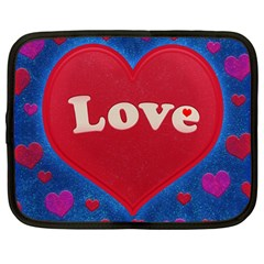 Love Theme Concept  Illustration Motif  Netbook Sleeve (large) by dflcprints