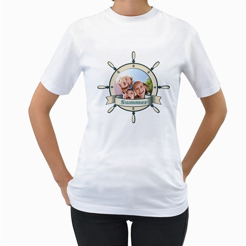 Summer By Summer Time    Women s T Shirt (white)    2ns4whqftsym   Www Artscow Com Front