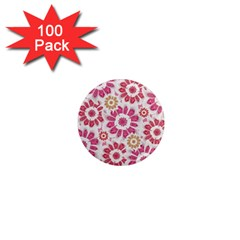 Feminine Flowers Pattern 1  Mini Button Magnet (100 Pack) by dflcprints