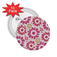 Feminine Flowers Pattern 2 25  Button (10 Pack) by dflcprints