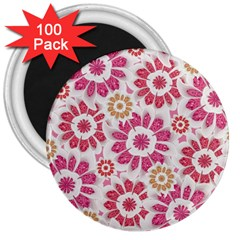 Feminine Flowers Pattern 3  Button Magnet (100 Pack) by dflcprints