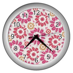 Feminine Flowers Pattern Wall Clock (silver) by dflcprints