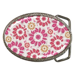 Feminine Flowers Pattern Belt Buckle (oval) by dflcprints